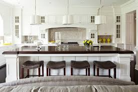 white brown colors kitchen breakfast. Bar Height Kitchen Island Transitional With Black Floors Brown Cabinetry White Colors Breakfast R