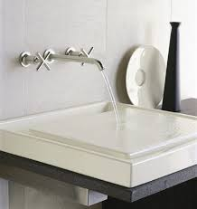 ideas bathroom sinks designer kohler: purist two handle wall mount kohler faucets with lenova sinks for modern bathroom design