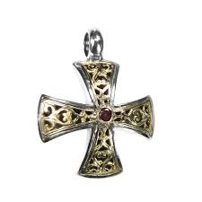 gerochristo 5339 solid gold sterling silver filigree maltese cross pendant