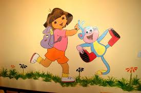 kids room wall painting dora and boots