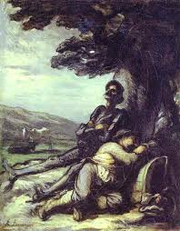 oil painting don quixote and sancho pansa having a rest under a tree c 1855