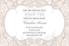 bridal shower invitation high tea invitations