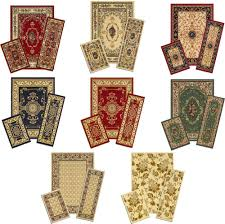 traditional persian accent mat runner area rug 3 piece set