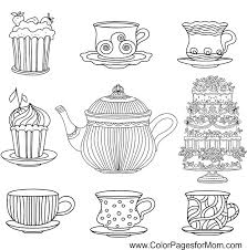 Small Picture coffee tea and cake coloring page Adult ColouringCoffeeTea