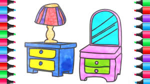 Drawing And Coloring Dressing Table For Kids Furniture Coloring