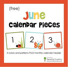Calendar Numbers For Pocket Chart June Pocket Chart Calendar Pieces Free Printable