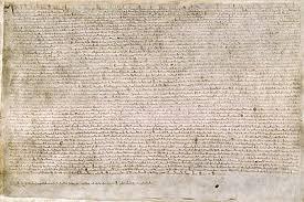 vellum  magna carta written in latin on vellum held at the british library