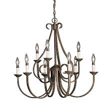 kichler dover 32 5 in 9 light tannery bronze country cottage hardwired candle chandelier