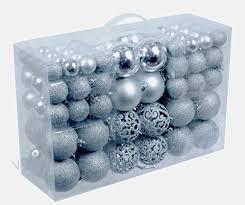 100 Weihnachtskugeln Silber Glänzend Glitzernd Matt