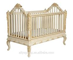 ak29 luxury wooden baby crib royal golden hand carving new born baby cot