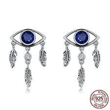 <b>100</b>% <b>925 Sterling Silver</b> Guarding Blue Eyes Feathers Stud Earrings