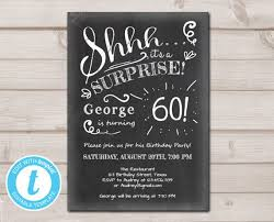 Surprise Birthday Invitation Chalkboard Rustic Adult