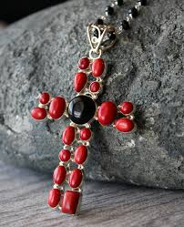 huge red c and onyx cross pendant necklace 925 sterling silver black onyx extra large cross rosary religious jewelry bygerene