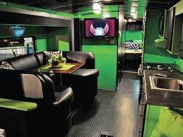 Camper Trailer Kitchen Designs Interior Amazing Green Rv Interior Design Black Leather Sofa