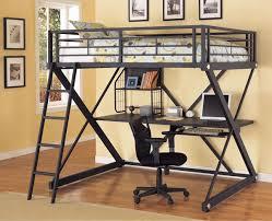 black metal bunk bed. Bedroom:Metal Bunk Bed With Desk Underneath Black Color Metal Loft Beds And R