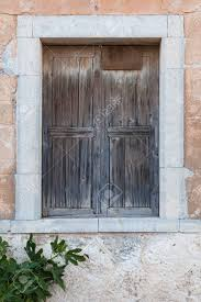 Sehr Alte Fensterläden Vor Fenster Im Altgriechischen Gebäude Mit