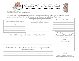 teacher feedback form substitute teacher report template substitute teacher feedback