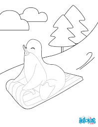 Sledding penguin coloring pages - Hellokids.com