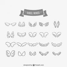 angel wings doodles set free vector