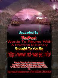 Words To Rhyme With Willard R Espy Metre Poetry Rhyme