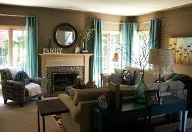 Teal and Taupe Living Room contemporary-living-room