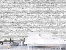 old brick wall mural light black and
