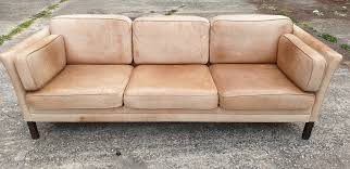 tap and hold to zoom image danish 3 seater leather sofa