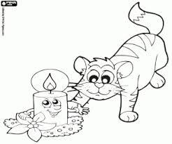 Kleurplaat De Kat En Een Kerst Kaars Kleurplaten