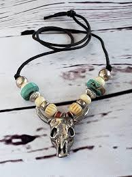 1960 s rare american indian vintage navajo bull skull necklace