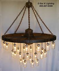 60 inch diameter wagon wheel mason jar chandelier light fixture with 35 lights