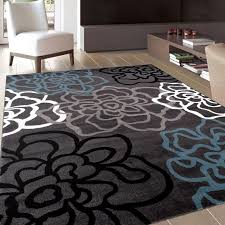 contemporary modern fl flowers gray area rug 7 10 x 10 2 20616