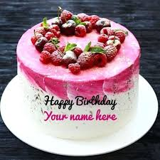Birthday Quotes Name Edit Vanilla Strawberry Birthday Cake For