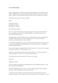 Cover Letter Cover Letter In A Resume Cover Letter In Nursing