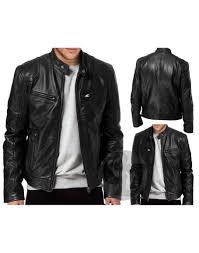 mens black brown real leather jacket vintage slim fit retro genuine new