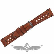 custom brown leather rally 20mm x 16mm watch strap for omega sdmaster professional