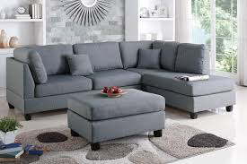 courtney grey fabric sectional sofa and ottoman