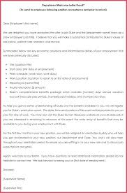 Department Welcome Letter Word Format New Hire Email