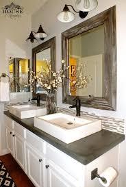 semi vessel double sinks on concrete countertop on vanity