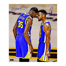 golden state warriors steiner sports stephen curry and kevin durant dual autographed 2017 nba finals 20x24 photo golden state warriors official