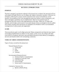 crisis management plan example 10 crisis management plan templates free sample example format