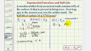 ex exponential model determine age using carbon 14 given half life you