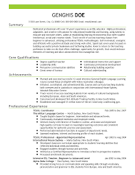 English Instructor Resume Examples Esl Teacher Example Knalpot Info