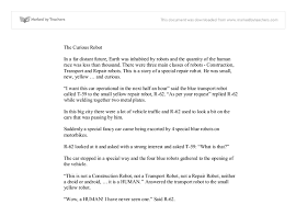 short descriptive story the curious robot a level english document image preview