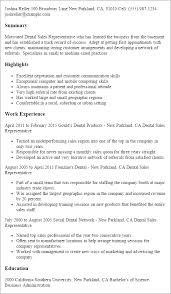 Resume Templates: Dental Sales Representative