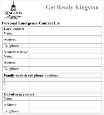 Contacts Template Word Emergency Contact List Template Free Download