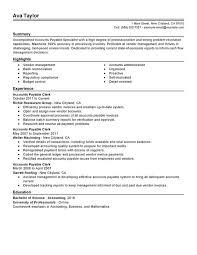 Resume Templates For Word Accounts Payable Cv Template Kairo