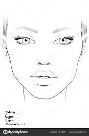 Blank Face Chart Face Chart Makeup Artist Blank Beautiful Woman Portrait
