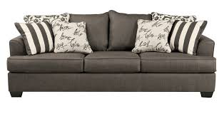 levon contemporary charcoal fabric pillow back sofa  living rooms