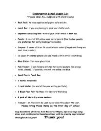 Kindergarten School Supply List James A Garfield Fill Online