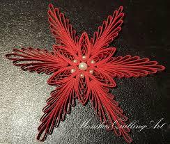 Quilling Weihnachtsstern Mit Perlen Rot 3mm Streifen By
